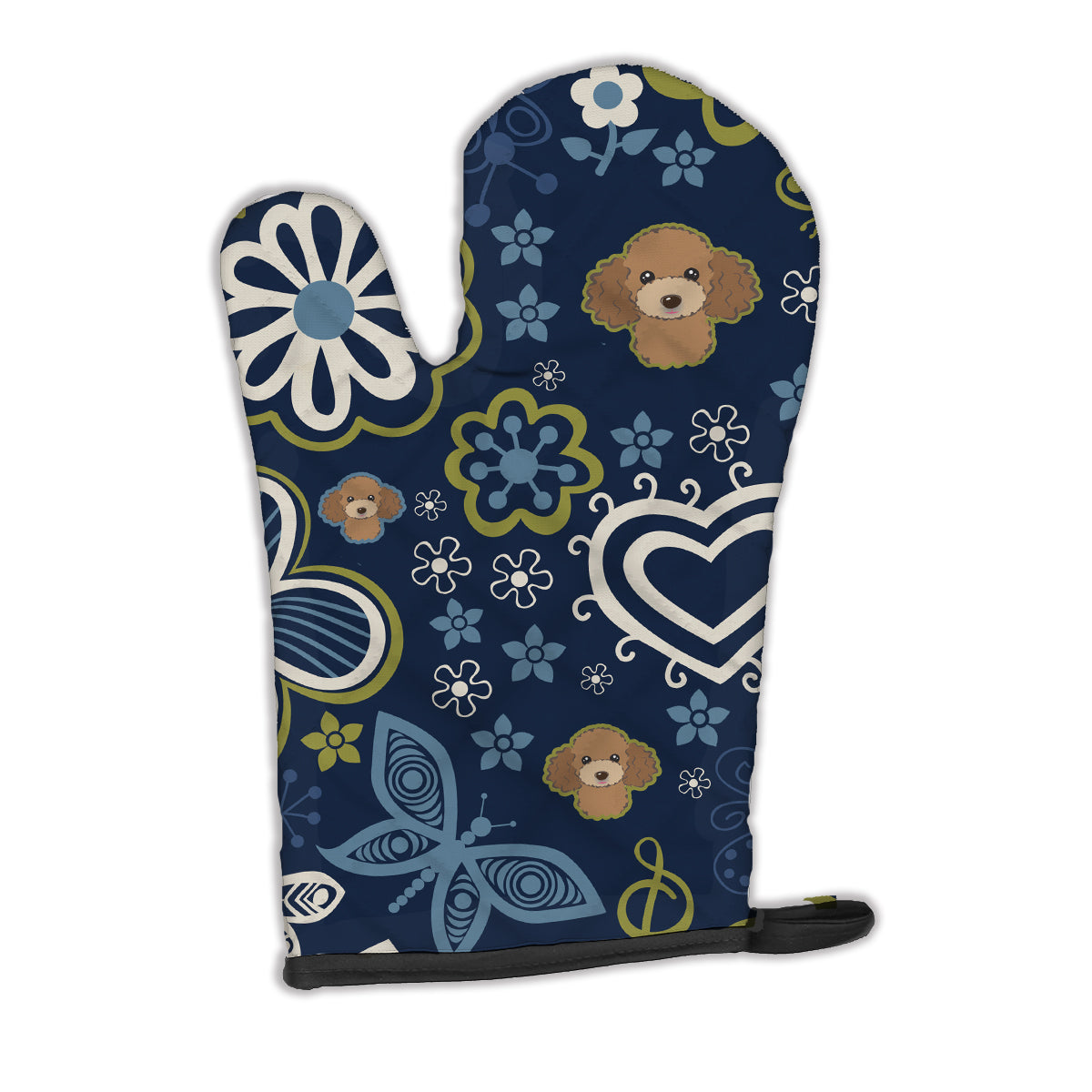 Buy this Blue Flowers Chocolate Brown Poodle Oven Mitt BB5107OVMT