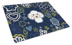 Buy this Blue Flowers White Poodle Glass Cutting Board Large BB5108LCB