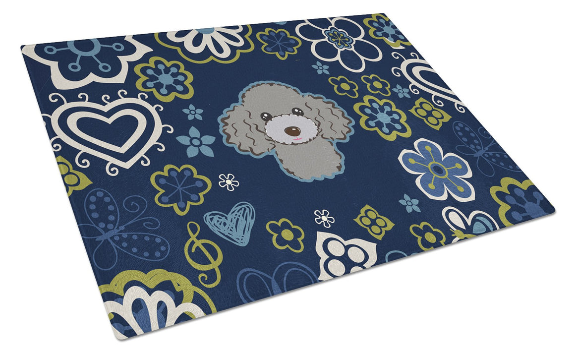 Buy this Blue Flowers Silver Gray Poodle Glass Cutting Board Large BB5110LCB