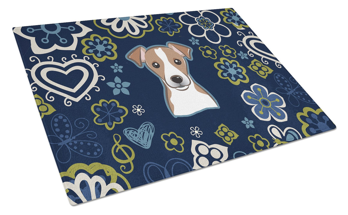 Buy this Blue Flowers Jack Russell Terrier Glass Cutting Board Large BB5111LCB