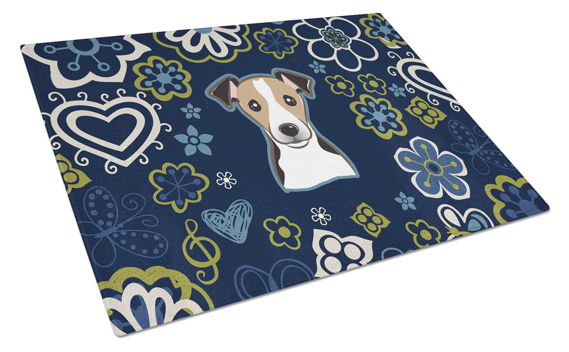 Buy this Blue Flowers Jack Russell Terrier Glass Cutting Board Large BB5112LCB