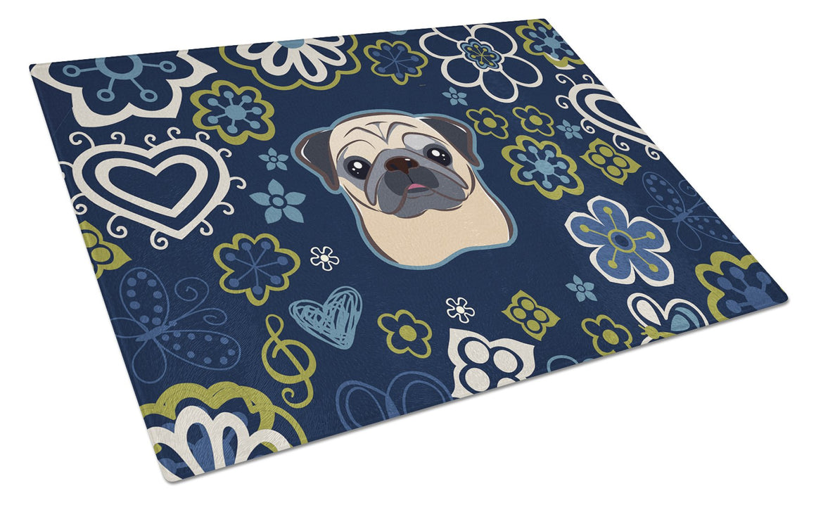 Buy this Blue Flowers Fawn Pug Glass Cutting Board Large BB5113LCB