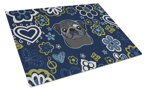 Buy this Blue Flowers Black Pug Glass Cutting Board Large BB5114LCB