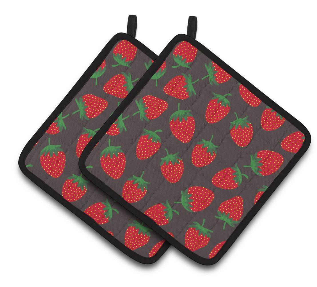Buy this Strawberries on Gray Pair of Pot Holders BB5137PTHD