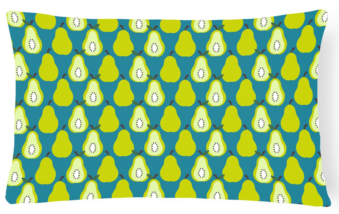 Buy this Pears on Green Canvas Fabric Decorative Pillow BB5138PW1216