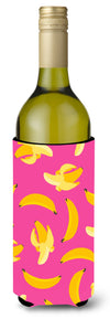 Bananas on Pink Wine Bottle Beverge Insulator Hugger BB5140LITERK by Caroline's Treasures