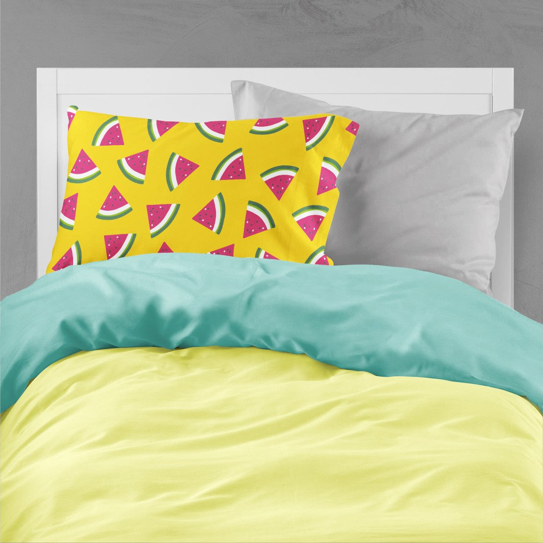 Watermelon on Yellow Fabric Standard Pillowcase BB5144PILLOWCASE by Caroline's Treasures
