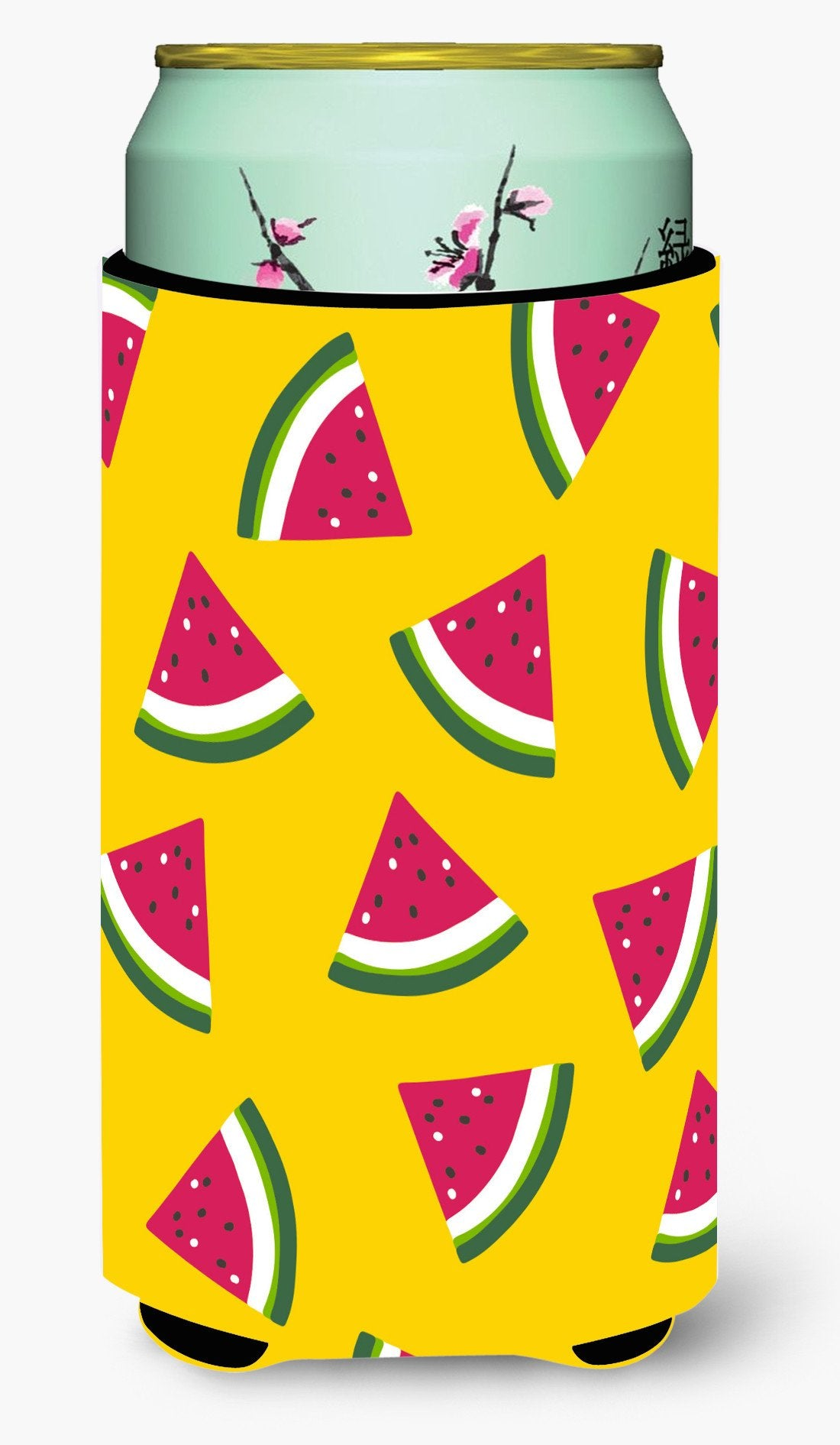 Watermelon on Yellow Tall Boy Beverage Insulator Hugger BB5144TBC by Caroline's Treasures