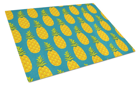 Buy this Pineapples on Teal Glass Cutting Board Large BB5145LCB