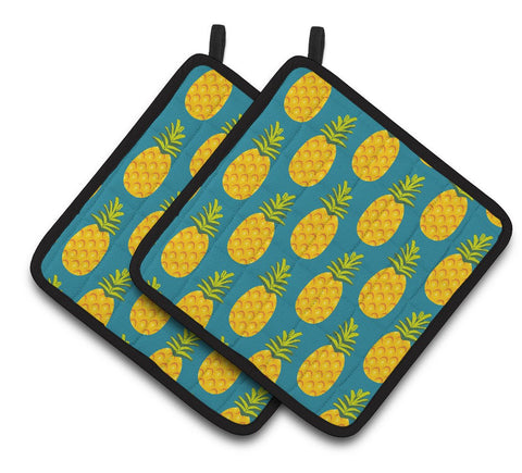 Buy this Pineapples on Teal Pair of Pot Holders BB5145PTHD