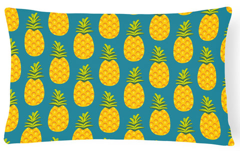 Buy this Pineapples on Teal Canvas Fabric Decorative Pillow BB5145PW1216
