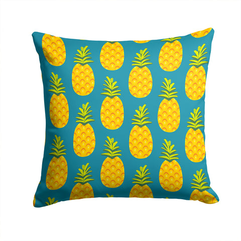 Buy this Pineapples on Teal Fabric Decorative Pillow BB5145PW1414