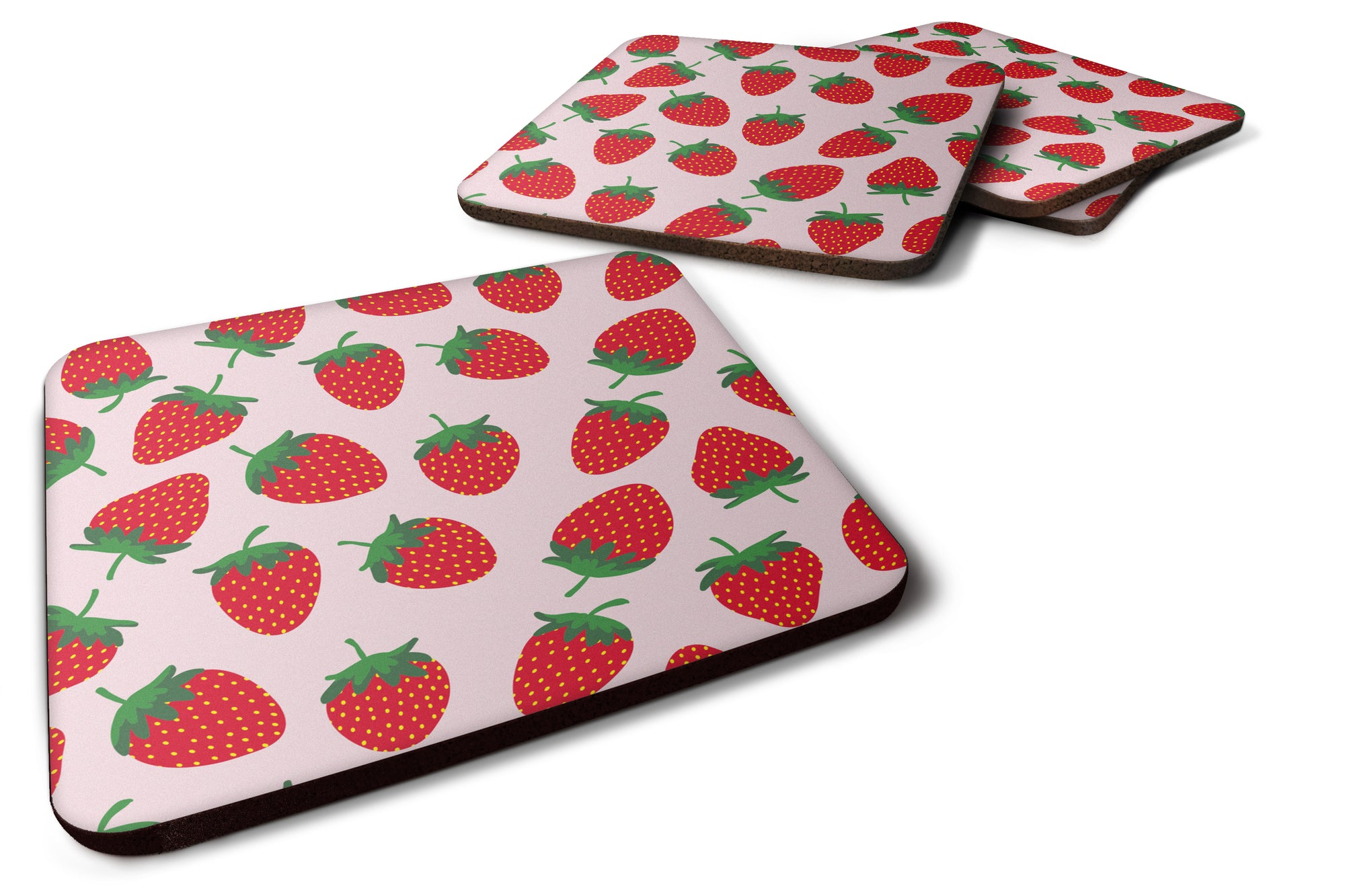 Buy this Strawberries on Pink Foam Coaster Set of 4 BB5146FC