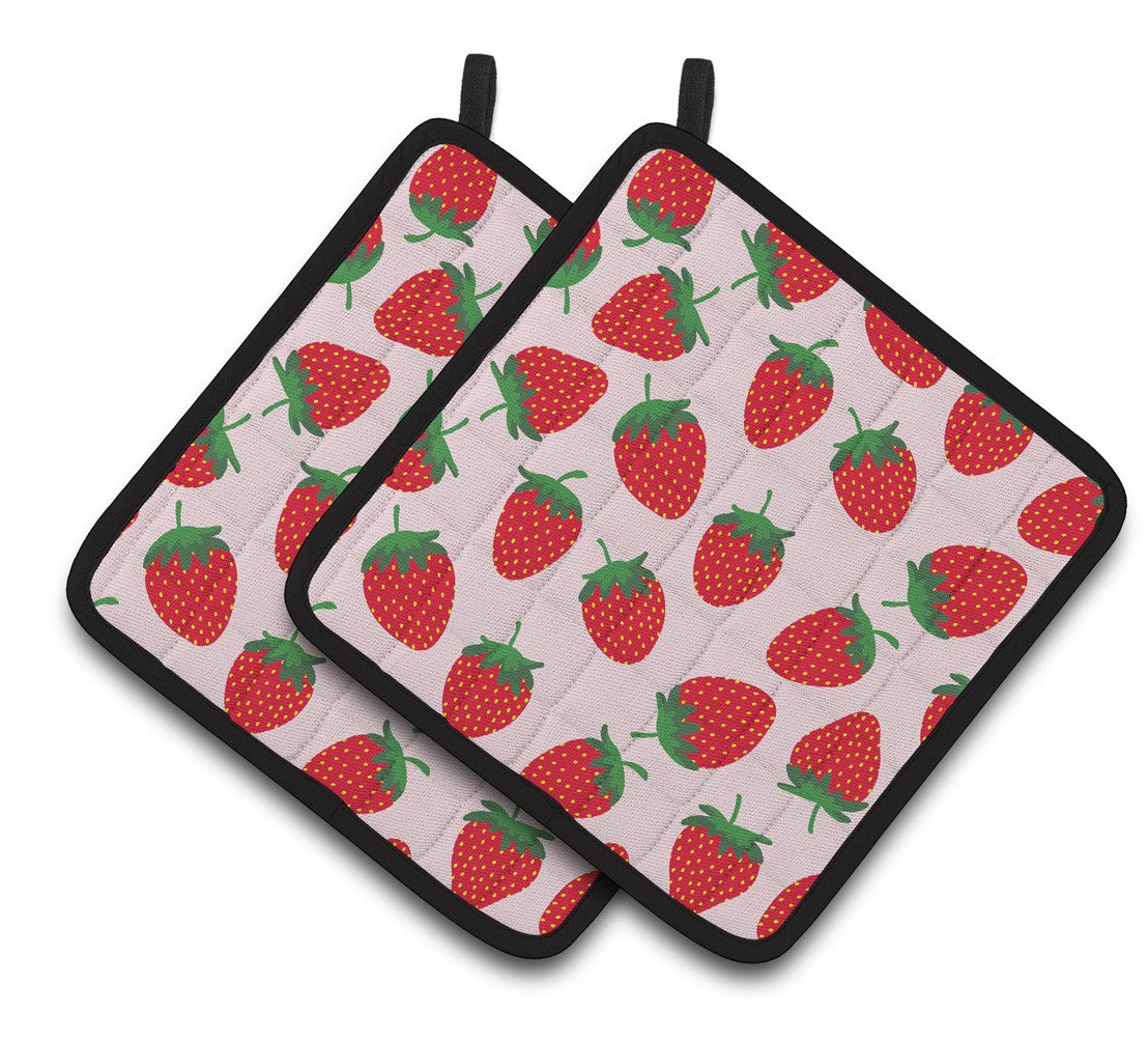 Buy this Strawberries on Pink Pair of Pot Holders BB5146PTHD