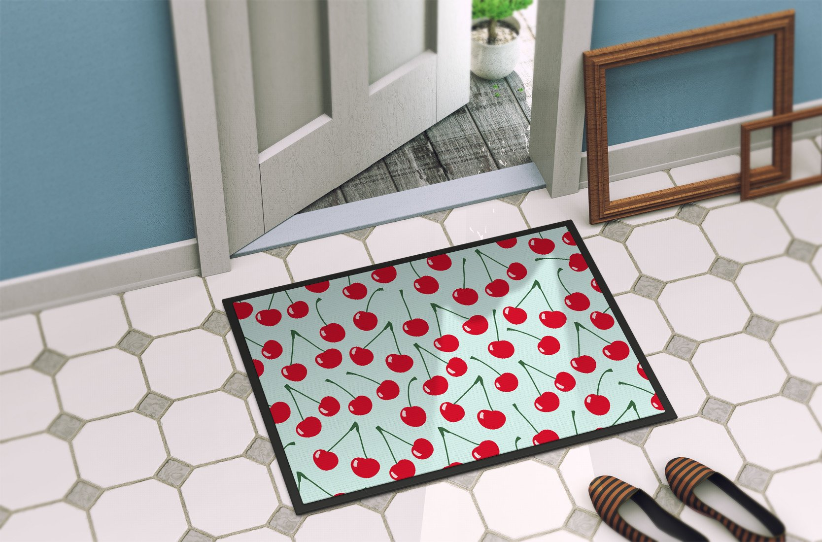Cherries on Blue Indoor or Outdoor Mat 24x36 BB5148JMAT by Caroline's Treasures