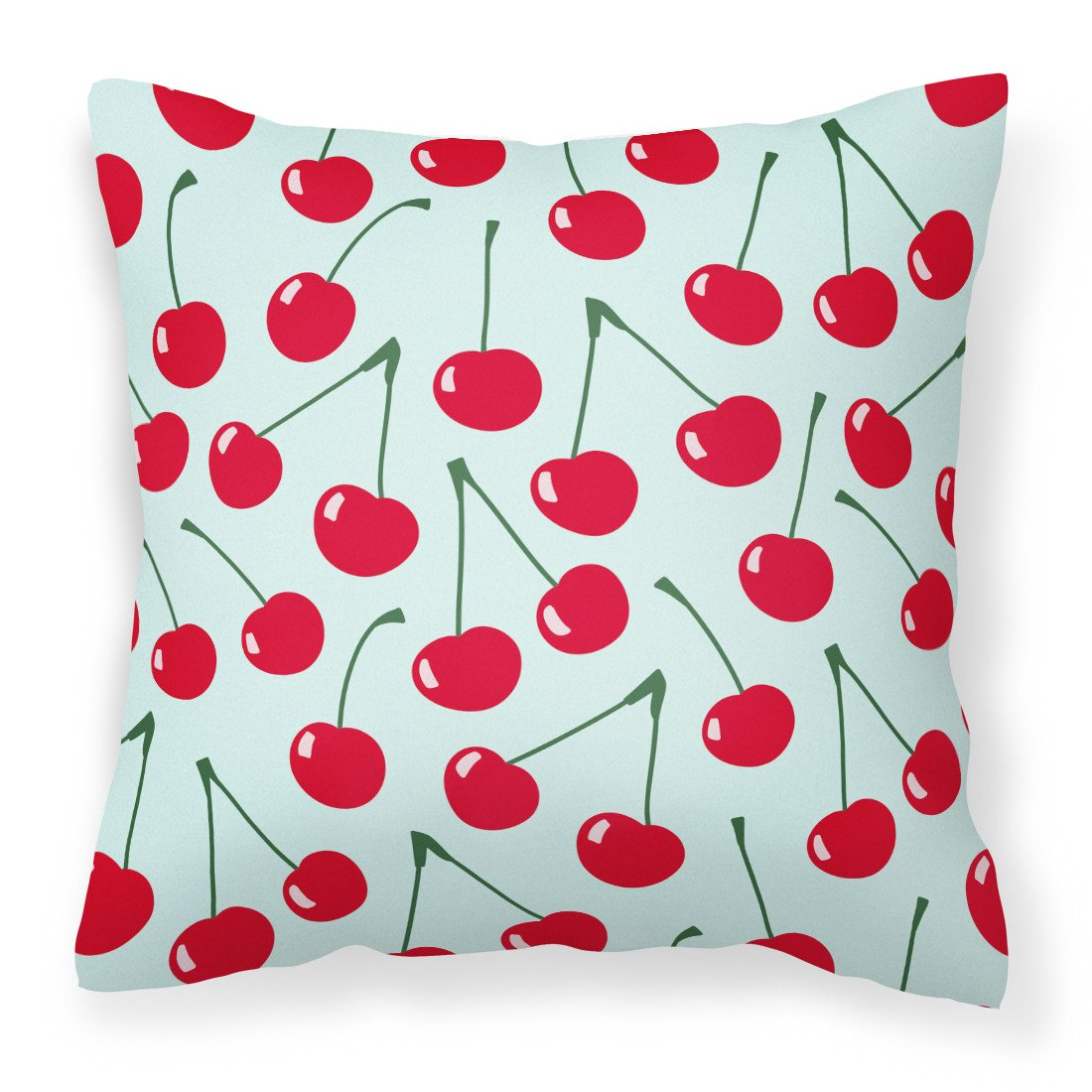 Cherries on Blue Fabric Decorative Pillow BB5148PW1818 by Caroline's Treasures