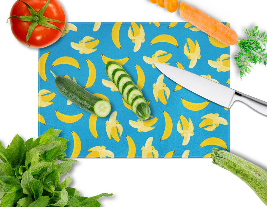 Buy this Bananas on Blue Glass Cutting Board Large BB5149LCB