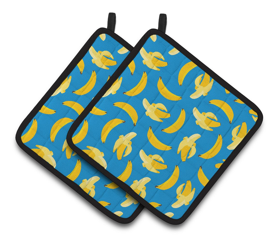 Bananas on Blue Pair of Pot Holders BB5149PTHD by Caroline's Treasures