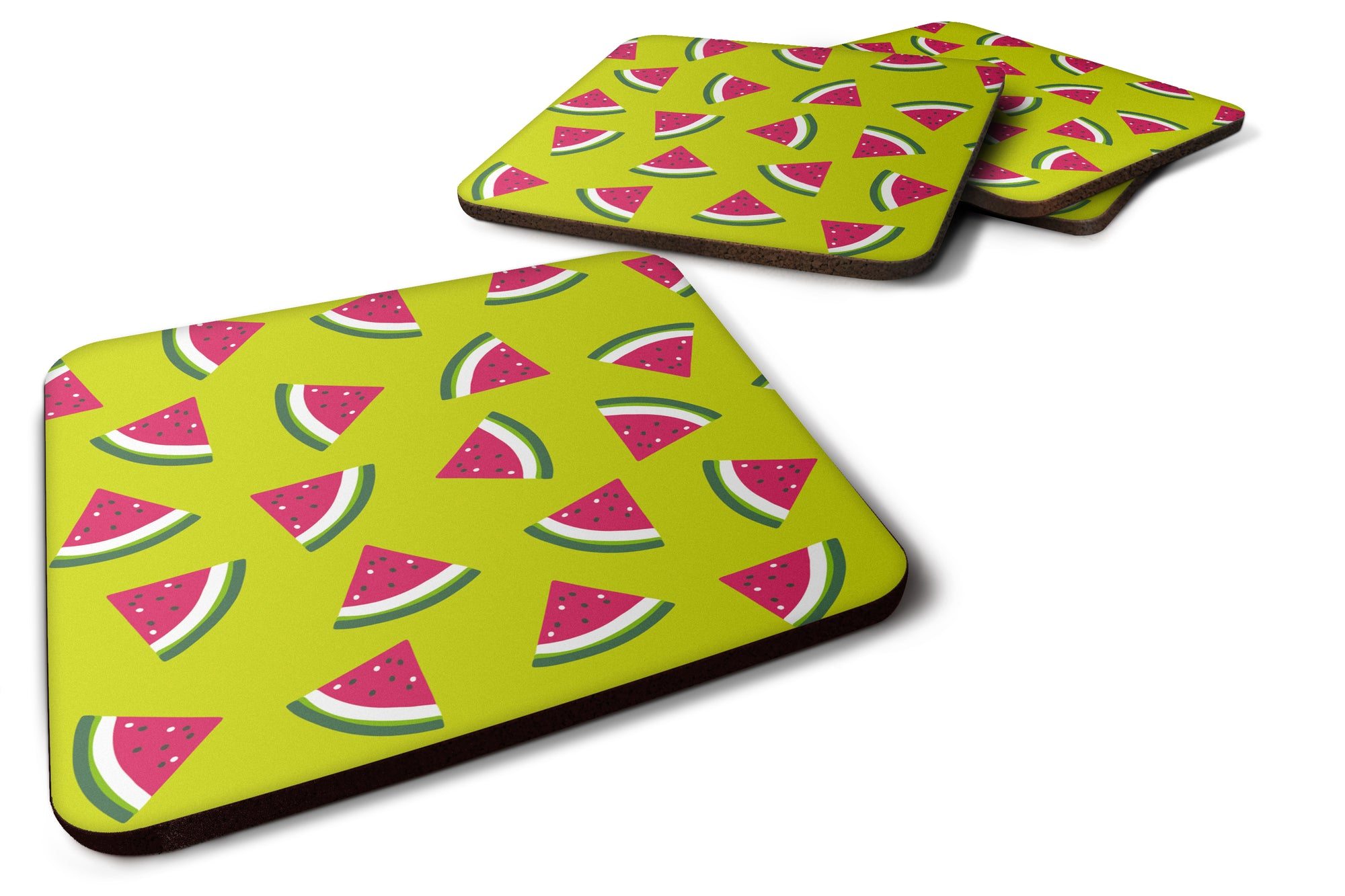Watermelon on Lime Green Foam Coaster Set of 4 BB5151FC by Caroline's Treasures