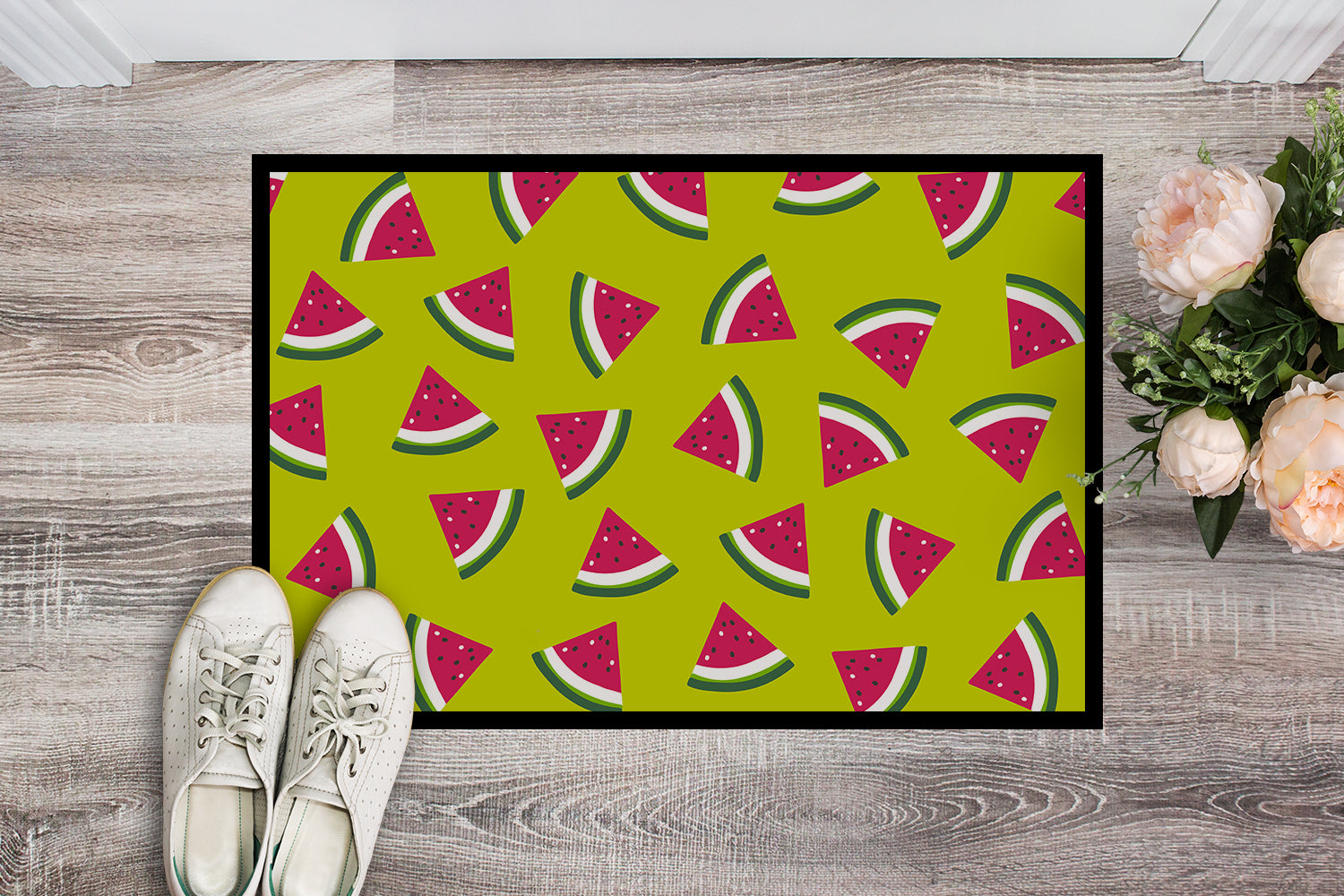 Watermelon on Lime Green Indoor or Outdoor Mat 18x27 BB5151MAT by Caroline's Treasures