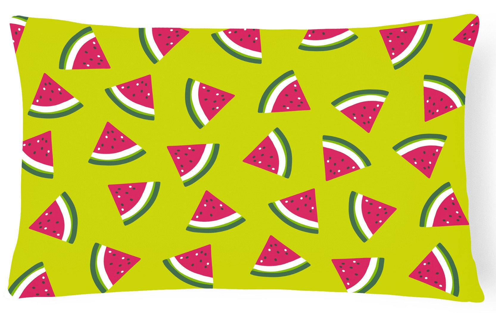 Watermelon on Lime Green Canvas Fabric Decorative Pillow BB5151PW1216 by Caroline's Treasures