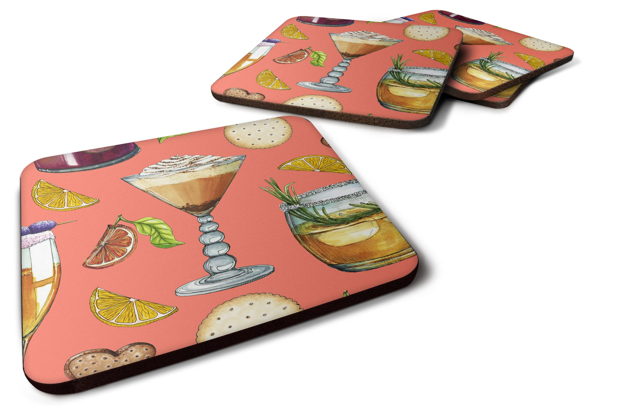 Drinks and Cocktails Salmon Foam Coaster Set of 4 BB5201FC by Caroline's Treasures
