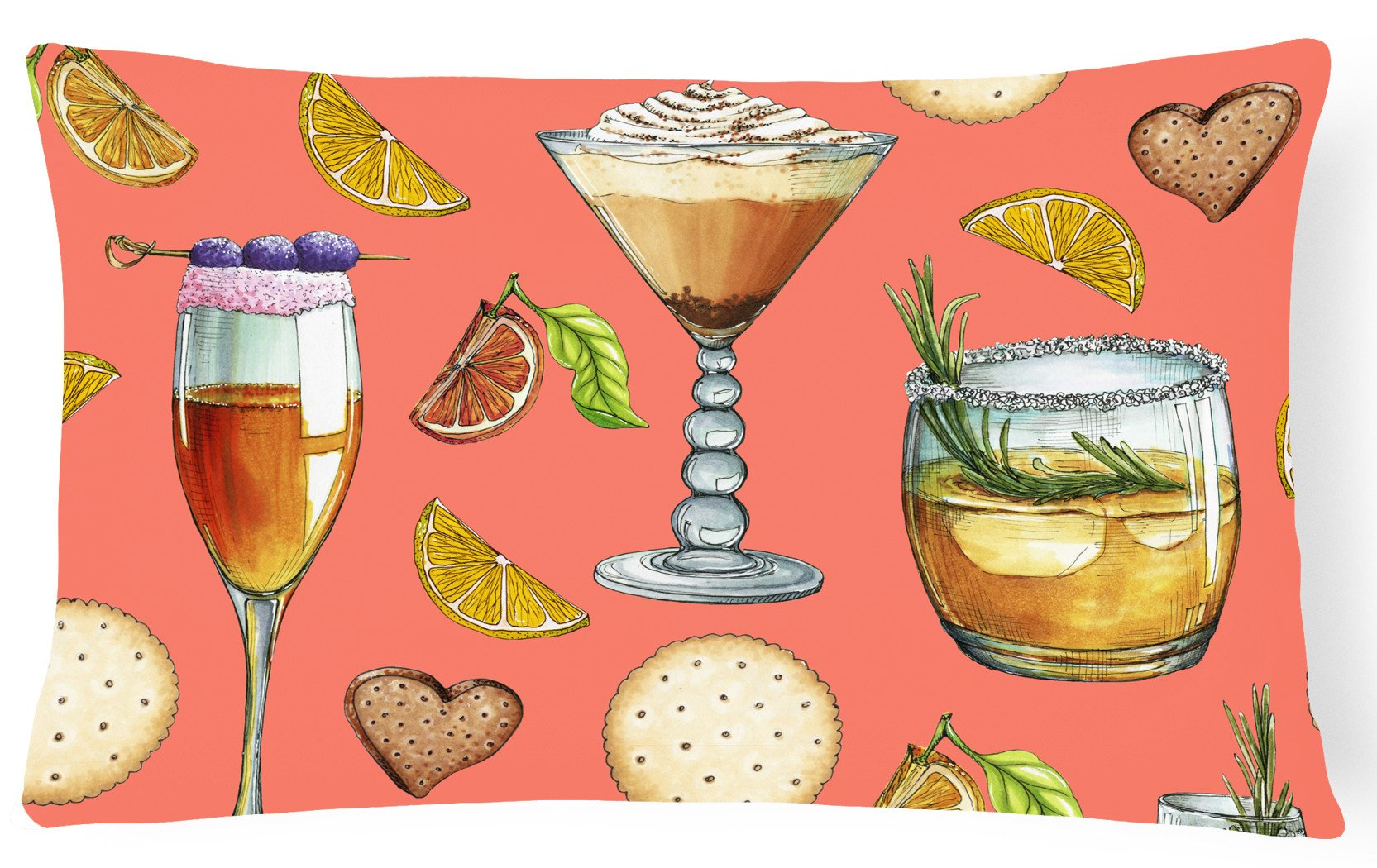 Drinks and Cocktails Salmon Canvas Fabric Decorative Pillow BB5201PW1216 by Caroline's Treasures