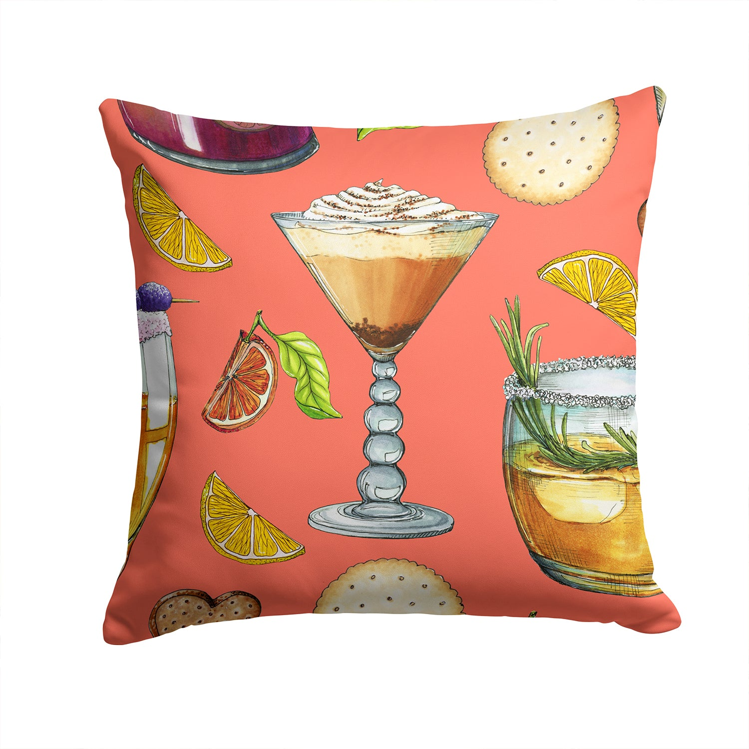 Drinks and Cocktails Salmon Fabric Decorative Pillow BB5201PW1414 by Caroline's Treasures