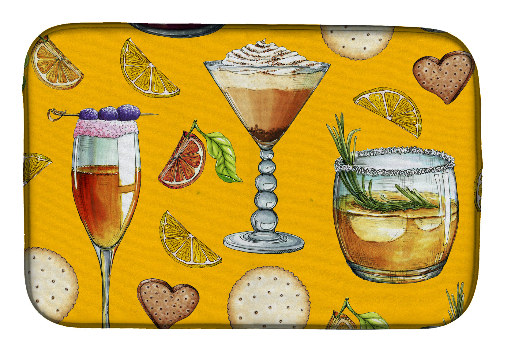 Buy this Drinks and Cocktails Gold Dish Drying Mat BB5202DDM