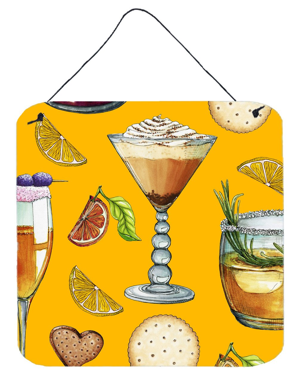 Drinks and Cocktails Gold Wall or Door Hanging Prints BB5202DS66 by Caroline's Treasures
