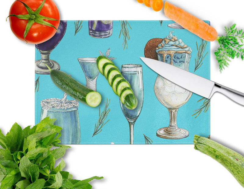 Buy this Drinks and Cocktails Blue Glass Cutting Board Large BB5203LCB
