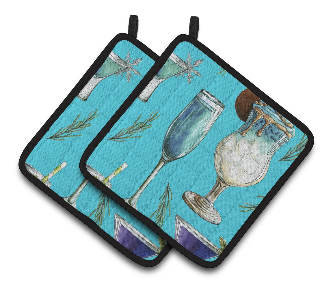 Buy this Drinks and Cocktails Blue Pair of Pot Holders BB5203PTHD