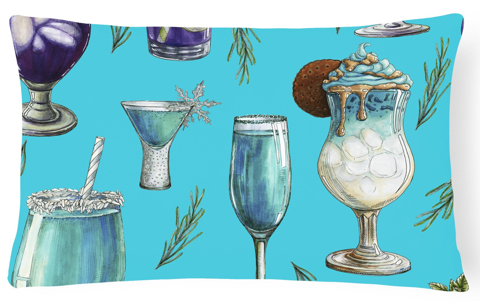 Buy this Drinks and Cocktails Blue Canvas Fabric Decorative Pillow BB5203PW1216