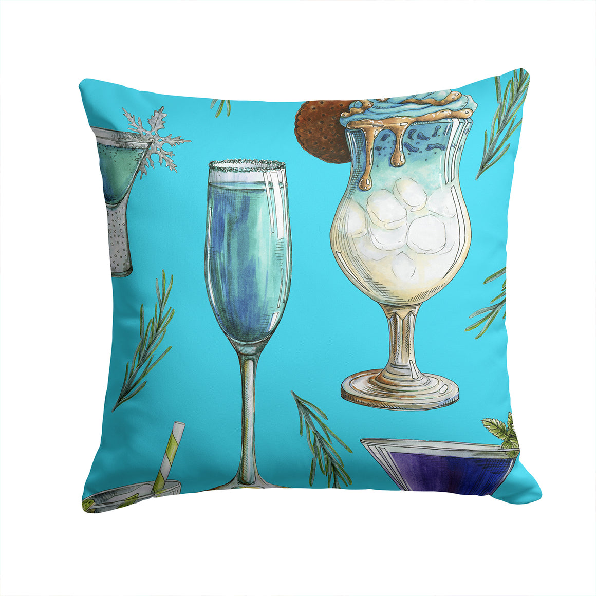 Buy this Drinks and Cocktails Blue Fabric Decorative Pillow BB5203PW1414