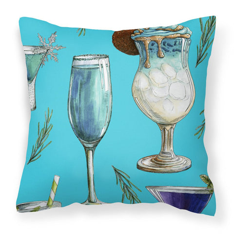 Buy this Drinks and Cocktails Blue Fabric Decorative Pillow BB5203PW1818