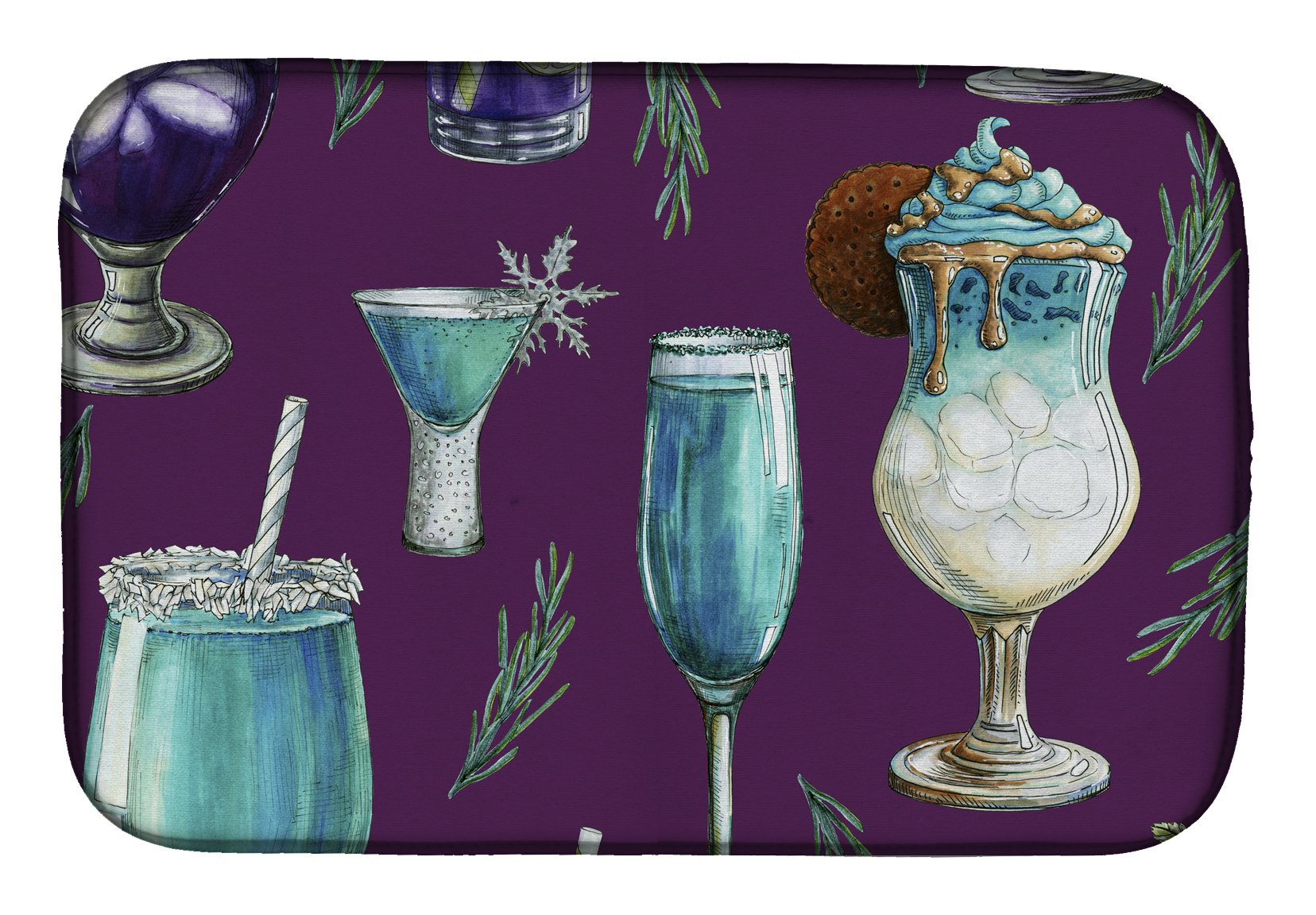 Buy this Drinks and Cocktails Purple Dish Drying Mat BB5204DDM