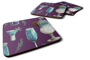 Buy this Drinks and Cocktails Purple Foam Coaster Set of 4 BB5204FC
