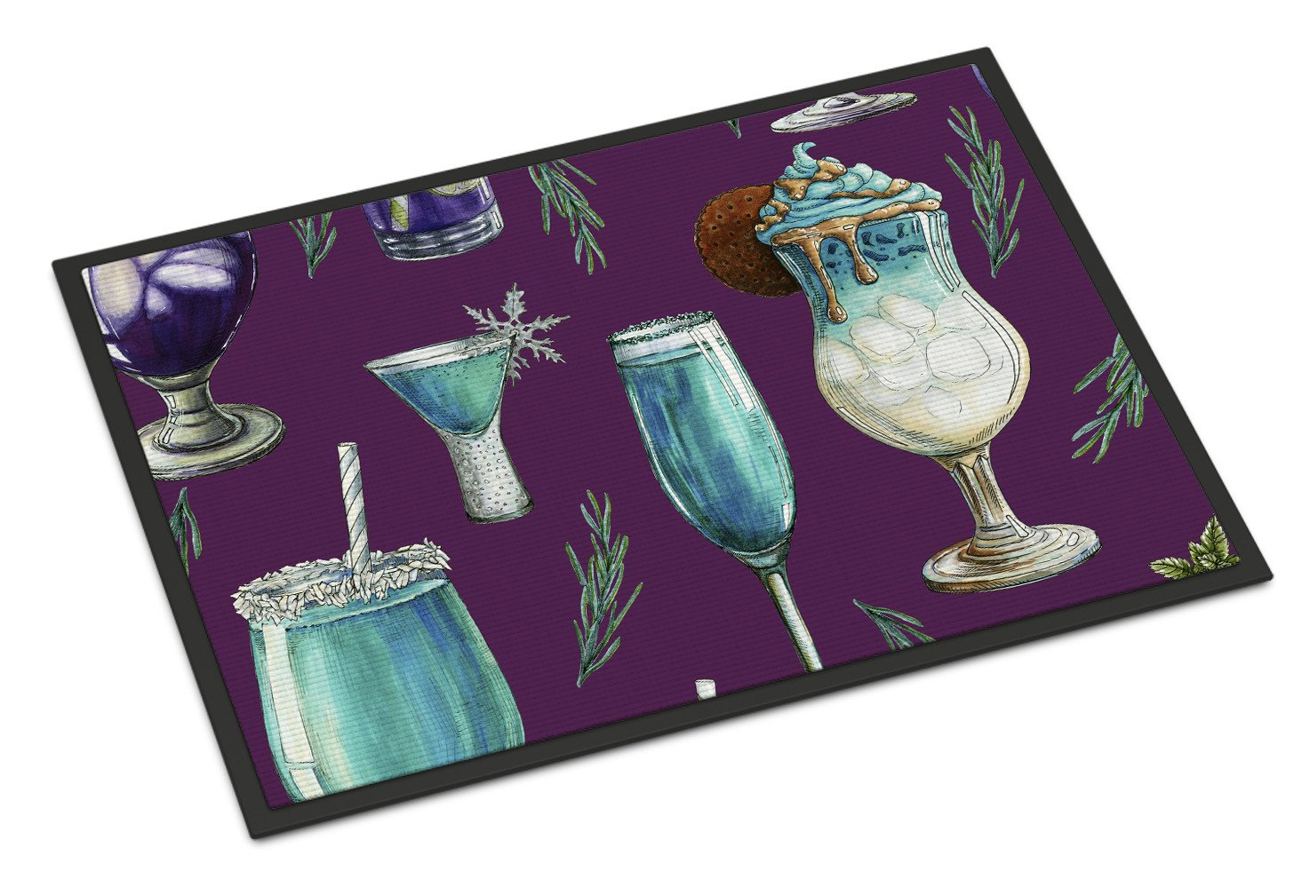 Drinks and Cocktails Purple Indoor or Outdoor Mat 24x36 BB5204JMAT by Caroline's Treasures