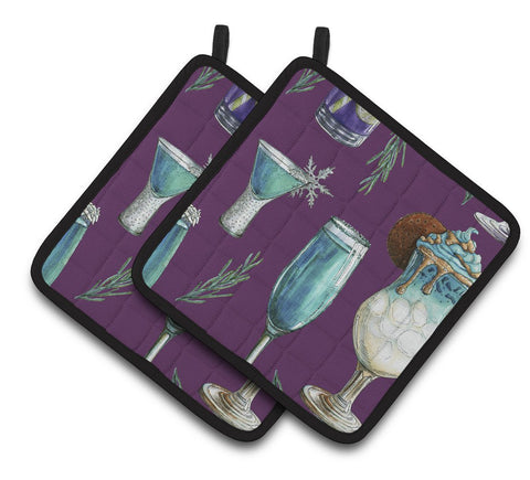 Buy this Drinks and Cocktails Purple Pair of Pot Holders BB5204PTHD