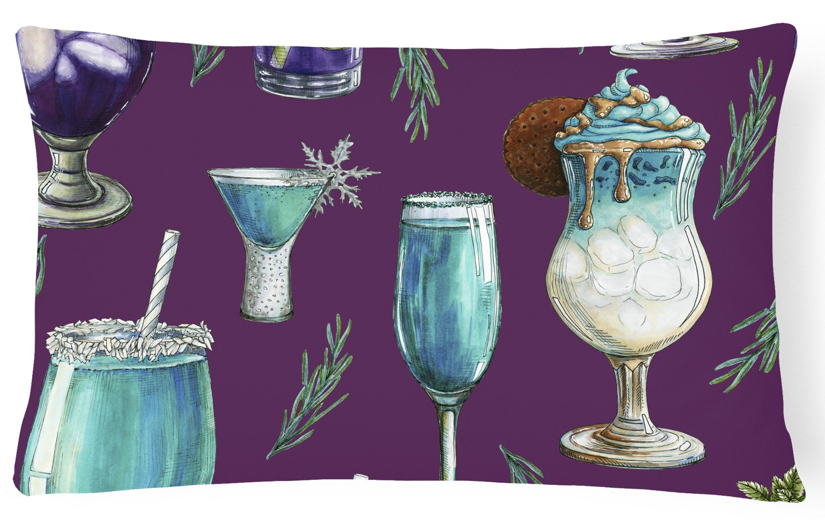 Buy this Drinks and Cocktails Purple Canvas Fabric Decorative Pillow BB5204PW1216