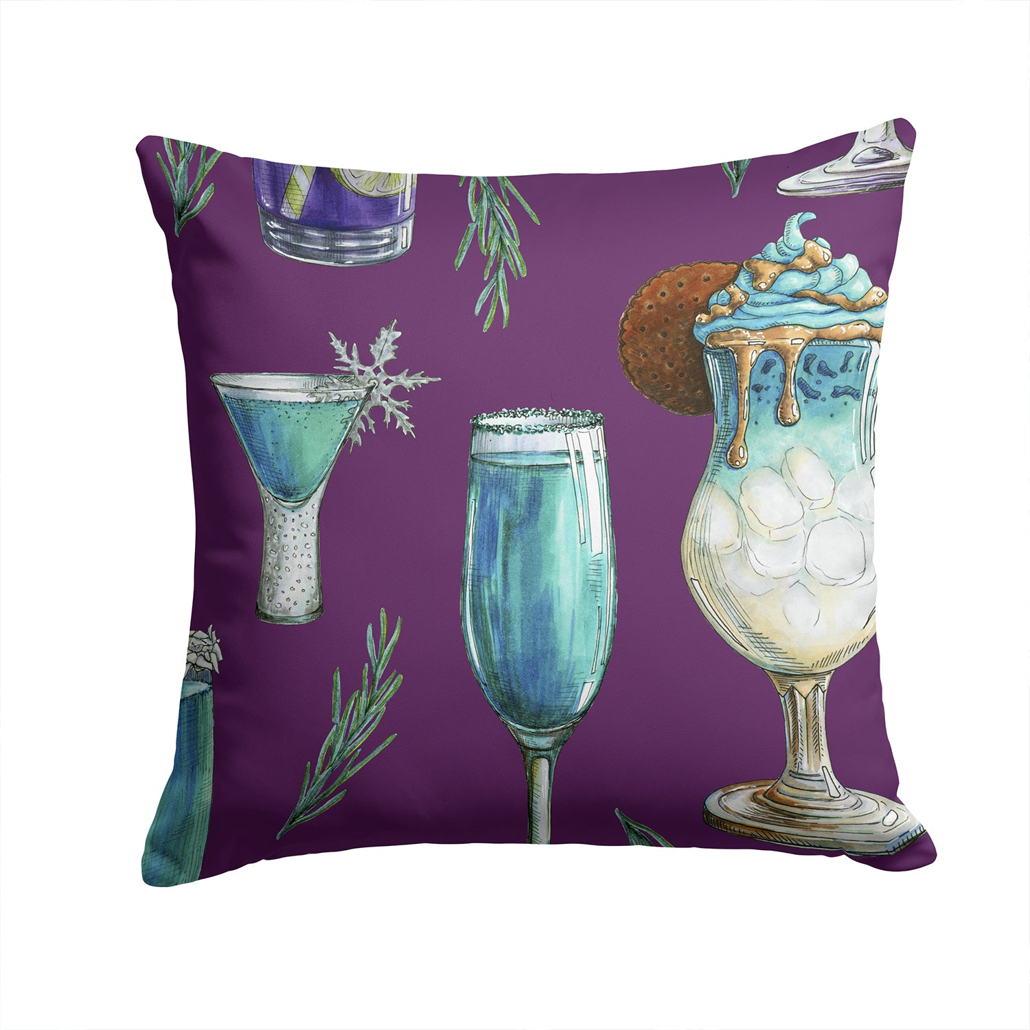 Buy this Drinks and Cocktails Purple Fabric Decorative Pillow BB5204PW1414