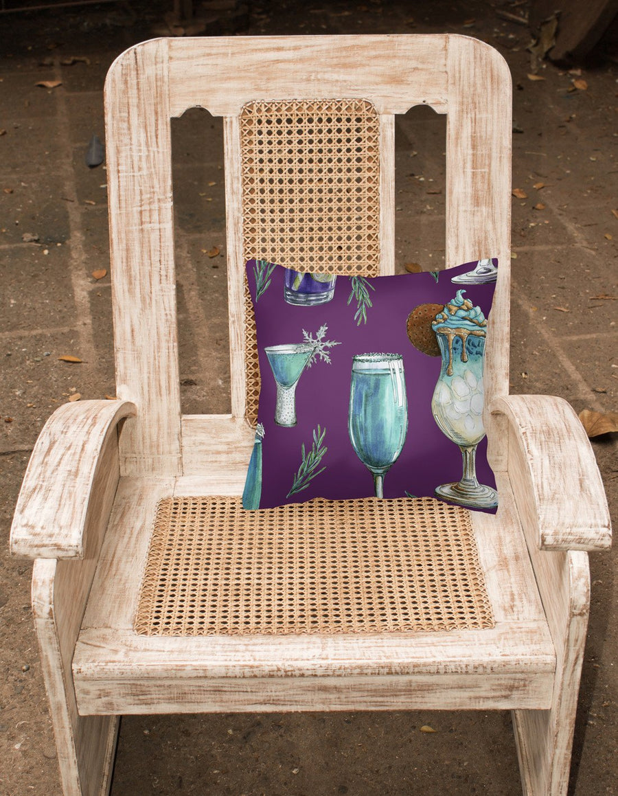 Buy this Drinks and Cocktails Purple Fabric Decorative Pillow BB5204PW1818