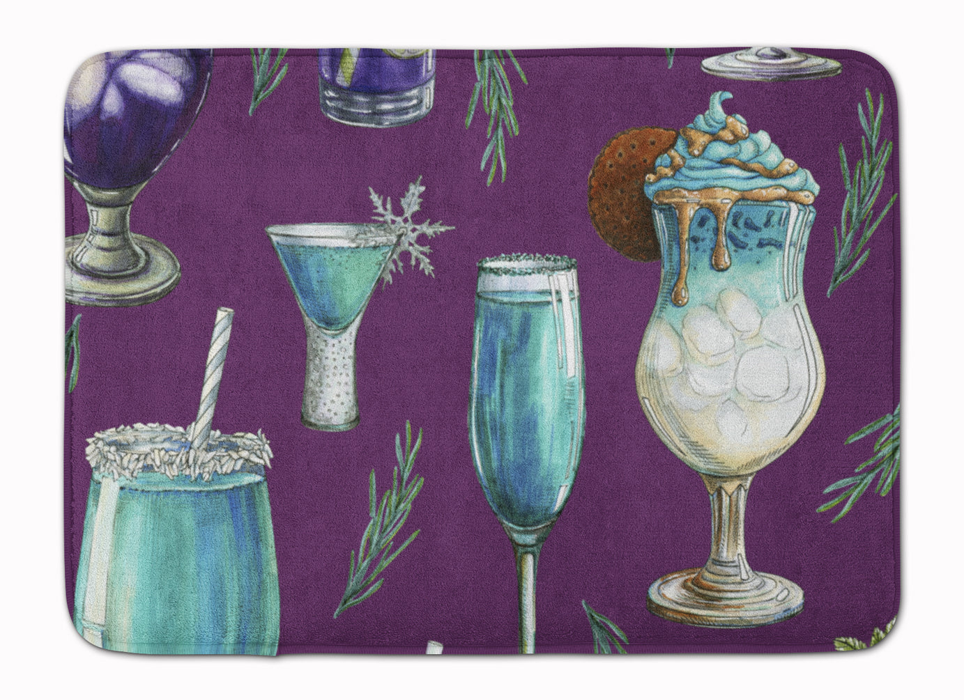 Drinks and Cocktails Purple Machine Washable Memory Foam Mat BB5204RUG by Caroline's Treasures