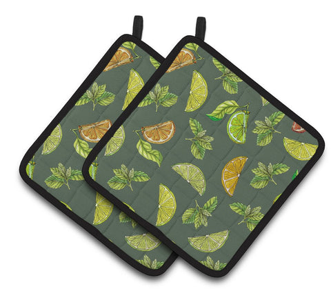 Buy this Lemons, Limes and Oranges Pair of Pot Holders BB5207PTHD
