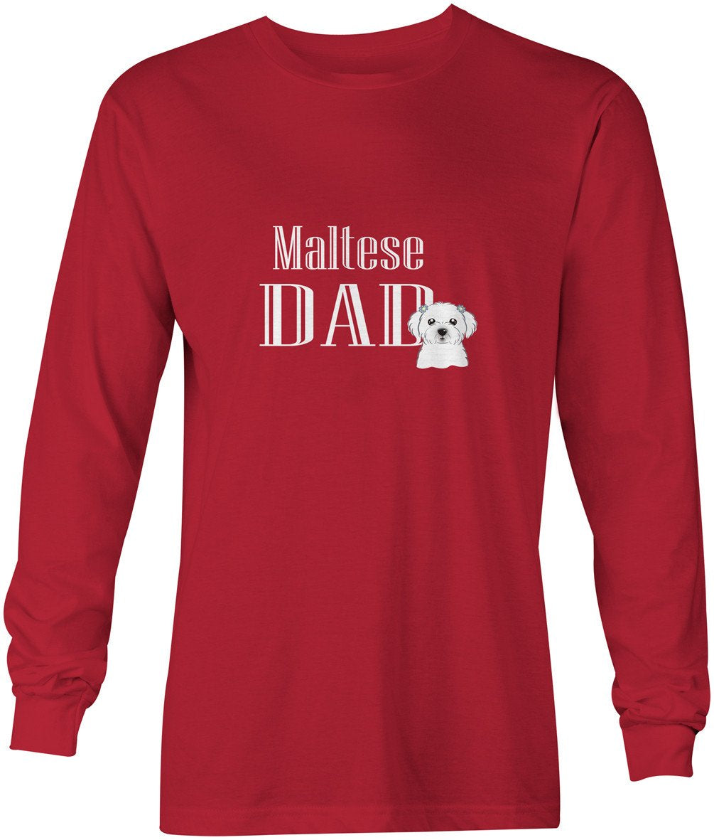 Maltese Dad Long Sleeve Red Unisex Tshirt Adult Large BB5216-LS-RED-L by Caroline's Treasures