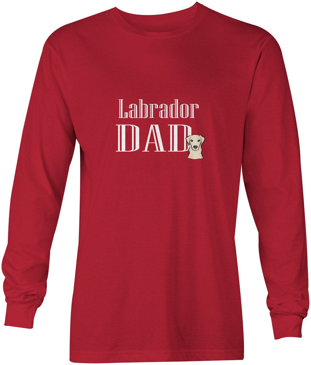 Yellow Labrador Dad Long Sleeve Red Unisex Tshirt Adult Extra Large BB5230-LS-RED-XL by Caroline's Treasures