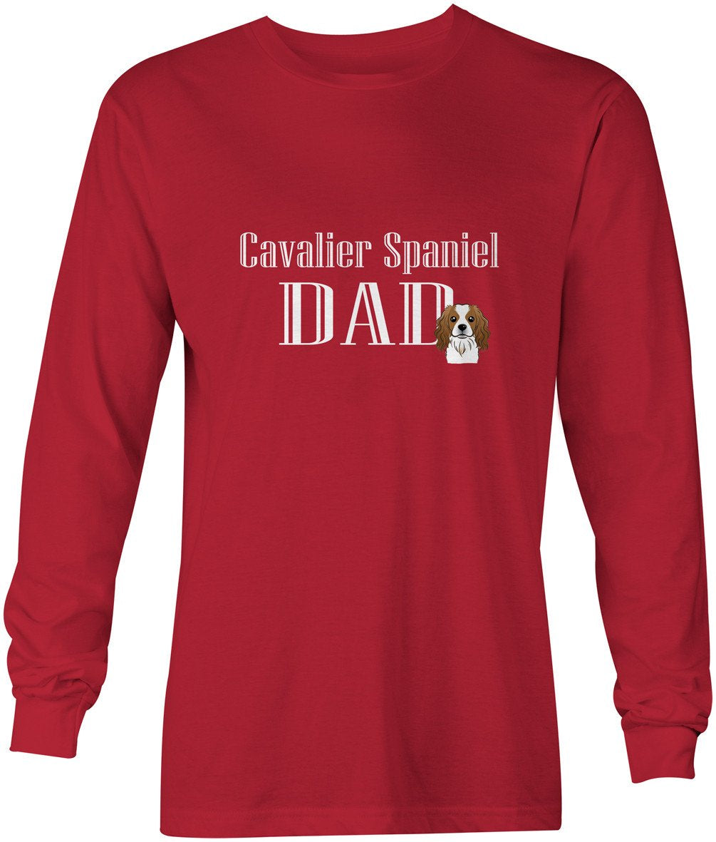Cavalier Spaniel Dad Long Sleeve Red Unisex Tshirt Adult Double Extra Large BB5232-LS-RED-2XL by Caroline's Treasures