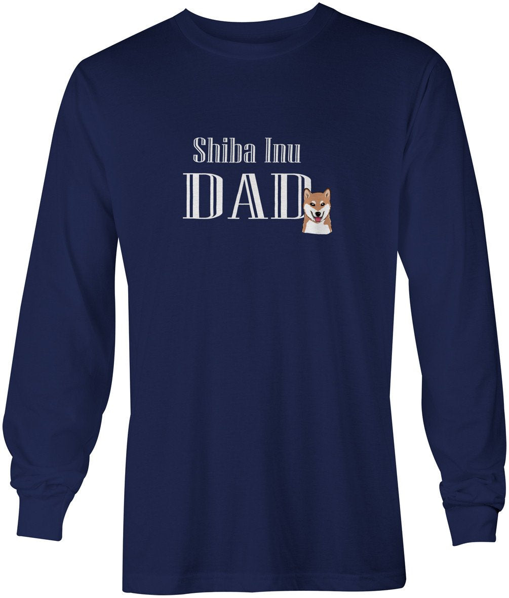 Buy this Shiba Inu Dad Long Sleeve Blue Unisex Tshirt Adult Large BB5233-LS-NAVY-L