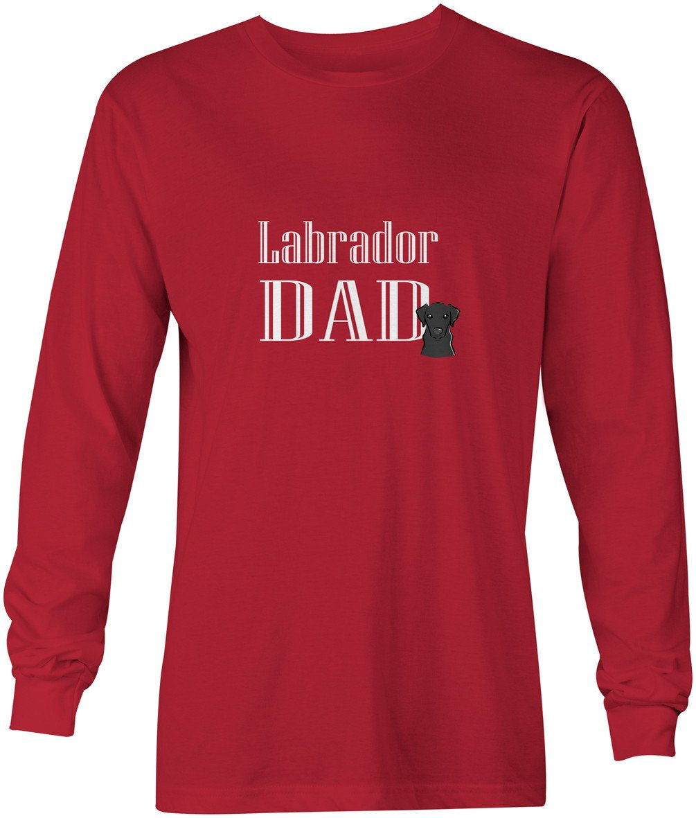 Black Labrador Dad Long Sleeve Red Unisex Tshirt Adult Small BB5243-LS-RED-S by Caroline's Treasures