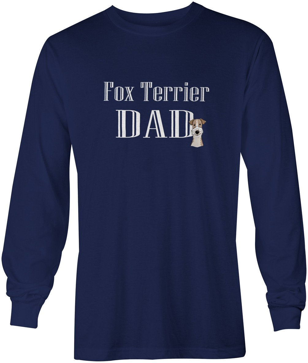 Wire Haired Fox Terrier Dad Long Sleeve Blue Unisex Tshirt Adult Large BB5255-LS-NAVY-L by Caroline's Treasures